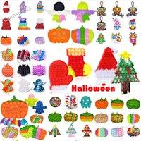 Noël halloween fidget jouets autisme a besoin de stress squishy Stress Strongpression Toy Fête Favoris Favoris Joyeux Adulte Kid Cravate Dye Rainbow Funny Stress Cadeau DHL