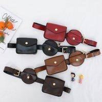 Designer Kids chest backpacks fashion boys girls square circular two piece sets waist bags children PU leather strap Messenger bag purse Q1165