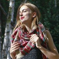 ternence الشتاء منقوشة wram لينة المرأة الأزياء والأوشحة شالات يلتف ماركة وشاح 140 سنتيمتر * 140 سنتيمتر * 210 سنتيمتر
