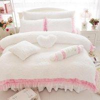 Luxus Plüsch Shaggy Duvet Cover Set 4/7 stücke Bettdecke Bettdecken Bett Rock Kissen Shams ultra weiche Samt Pelz Bettwäsche Sets