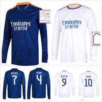 2021 2022 Real Madrid Jersey Manga Longa Futebol Jerseys 21 22 Ramos Ramos Benzema Camiseta Camisa de Futebol Maillot Maglia Tops Uniformes