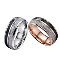Double Groove Rose Gold Silver Ring with Black Carbon Fiber Anti-stone Pattern Men's Rings