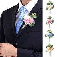 Romantic Suit Bouquet Brooch Groom Groomsmen Boutonniere Rose Carnation Flowers Wedding Prom Corsage Silk Flowers Corsage Brooch