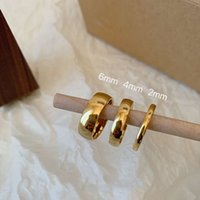 Food Small Size Smooth Men's Ring On Finger Plated 18K Gold Rings Women Free Steel Fine Jewelry For Couples