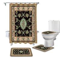 Chuveiro Cortinas Turkish Tapetes Cortina de Textura Conjuntos Não-deslizamento Tapetes Toalete Tampa de Tampa e Banheira Banheiro Impermeável
