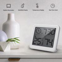 ساعات الحائط الرقمية ساعة الذكية الإلكترونية الذكية داخلي LCD الرطوبة متر الرطوبة O1Q6