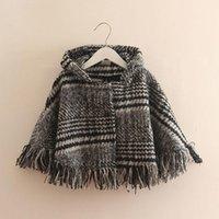 Jackets Girls Knitted Wool Grid Cardigan For Kids Thousand Bird Stripes Coat Children Shawl Poncho Cape Irregular Cloak Outwear