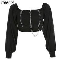 Itoolin Goth Футбалка Zip UP Урожай Топ Женщины вне плеча Tehes цепи с длинным рукавом Y2K футболки готические темные черные винтажные одежды Y0508