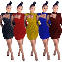 Women mini casual dresses summer fall clothes sexy club elegant long sleeve crew neck see-through sheer hollow out sheath column lace evening party wear fashion 01572