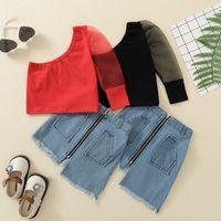 kids Clothing Sets girls outfits Children Oblique shoulder Net yarn sleeve Tops+denim zipper skirts 2pcs set summer Boutique fashion baby clothes Z3903