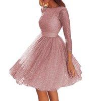 Casual Dresses Summer Dress Women Elegant Round Neck See-through Sequins Long Sleeve Backless Knee-Length Wedding Party Female Vestidos