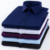 Men's Dress Shirts Men Free Stretch Solid Color Long Sleeve Button Up Mens Party Clothing Korean Style Blouses Slim Fit Casual