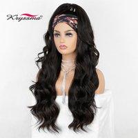 Perucas sintéticas Kryssma Long Wavy Headband Wig para mulheres negras Nenhum Body onda de substituição headwraps cabelo 2021 moda