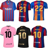 20 21 Barca Fussball Jerseys Messi Barcelona 2021 Ansu Fati Griezmann Braithwaite Pedri de Jong Coutinho Football Hemd Männer Kinder Kit Uniform
