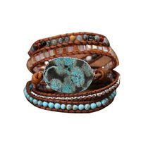 Tennis Casual Beaded Mixed Fashion Jewelry Leather Charm Adjustble Handmade Gift Natural Stones Weaving Elegant Wrap Bracelets Retro