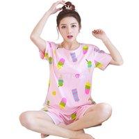 WAVMIT NEW 2020 Летняя удобная милая пижама девушка печати пижама набор с короткими рукавами костюм женские ночной рубашки SETSN8W3S4OP