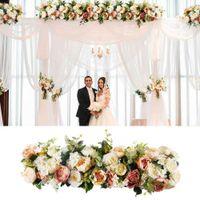 Fengreise 1M Silk Rose Peony Hydrangea Cypted Iteyial Цветы для свадьбы Дома Украшения ряд arch Дверь Поддельная гирлянда