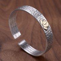 V.YA 990 Reine Silber Lotus Herz Armreifen Frauen Sutra Buddhismus Armreifen Vintage Weibliche Armband Silber Schmuck 210512
