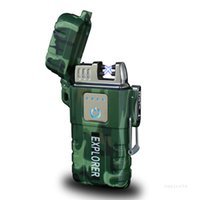Wasserdichte Doppelbogen-Feuerzeuge Outdoor Camping Winddicht Zigarettenanzünder USB-Ladeanzünder-Geschenk ZC206