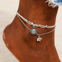 Böhmische Multilayer-Perlen Fußklets für Frauen Vintage Sonne Elefant Fußkettchen Barefoot Sandalen Armband Knöchelschmuck Weiblicher Knöchel