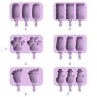 Silicone Popsicle Molds tools DIY Homemade Cartoon Ice Cream Maker Mould With 50 Wood Stick NHE6787