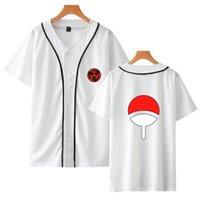 Mode Beliebte Naruto Baseball T-Shirt Straße Tragen Anime T-Shirt Beliebte Lässige japanische Männer / Frauen / Kinder Weißer Top-Druck