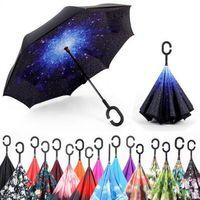 Folding Reverse Umbrella 52 Styles Double Layer Inverted Long Windproof Rain Car C-Hook Handle Umbrellas DH8966