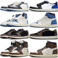 Ts x fragmentar jumpman 1 sapatos de basquete homens 1s alta og baixo og baixo militar azul obsidiano escuro mocha mens treinadores esportes sapatilhas