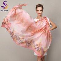 Bysifa | outono inverno novo rosa lenço de seda impresso mulheres luxo 100% puro seda de seda longa lenços xales marca garganta lenço hijabs