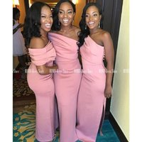 Bridesmaid Dress Strapless Pink Dresses 2021 Black Girls Side Split Sheath Wedding Party Zipper Up Back Satin Long Prom Gown