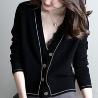 Woman Jacket V-Neck Knitted Sweater Women Pullover Long Sleeve Black Cardigan Coat Jackets Clothes D706 Women's