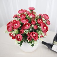 Decorative Flowers & Wreaths Artificial Flower Bouquet Small Rose Head Wedding Party Home Decoration Wreath Scrapbooking DIY Craft Fake