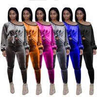 Elegant Classy Velvet Outfits 2 Piece Matching Sets Tracksuits Single Shoulder Long Sleeve Loose Top & Bodycon Jogger Pant Female Clothes S-XXL