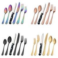 24 pçs / set fosco de jantar preto conjunto com facas de bife kits de talheres de talheres de aço inoxidável kits banhado a cores conjunto de utensílios ocidentais T9i001330