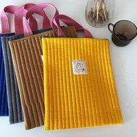 Evening Bags Korean Cotton Canvas Handbag Laptop Sleeve Bag Tablet Inner Case Cute Student Schoolbag Colorful Shopping For Women Girl