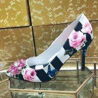 اللباس أحذية الجمال الأزهار حجر الراين مجوهرات امرأة روز زهرة الطباعة مضخات مخططة أشار تو الانزلاق على الخناجر الزفاف عالية الكعب