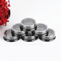 3g Black Plastic Travel Cosmetic Jars Round Bottle Refillable Makeup Cream Eyeshadow Lip Balm Sample Storage Container Packing Bottles Pot with Clear Lids