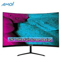 Amoi 24 Inch LED Monitor Gaming 75HZ PC 1080P LCD Monitors Curved Display With Mouse Pad,Mouse Full HD Input -compatible VGA