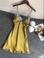 Sexy Short Satin Backless Womens Sleepwears Lingerie Sleepdress Babydoll Nightdress Yellow Nightgown Underwear Homewear