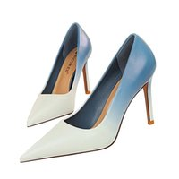 Fashion High heeled womens shoe Color matching Cloth Drill button 9.5cm heels Genuine Leather sole cool shoes Back Strap big size 34-43 women with box