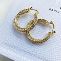 Luxury Designer Women Charm Earrings With Rhinestones Stud Simple Copper Alloy Ear Drop Diameter 3cm No box Steel Seal