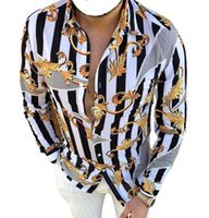 Plus Sizes 3XL Men's Casual Vintage Shirts Gold Leaf Cardigan Printed Long Sleeve Slim Summer Hawaiian Skinny Fit Various Pattern Man Clothes Blouse