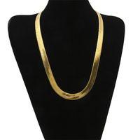10mm Geniş Yılan Kemik Zinciri Sarı Altın Dolu Erkekler Bildirimi Herringbone Kolye 60 cm (23.6 \ 2072 Q2