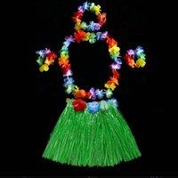 Kids Girls Hawaiian Luau Grass Hula Style Suit Flower Skirt Garland Dance Party Costume Set Woman Dress Up Favor
