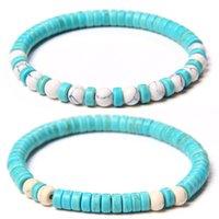 6mm bleu turquoise blanc bracelet en pierre bracelet de pierre charme yoga énergie bracelets bijoux femmes hommes cadeaux