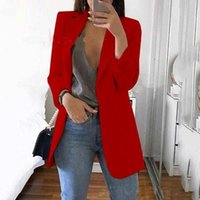 Women's Jackets Casual Mid Coat Lapel Slim Cardigan Outdoor Work Suit Open Front Cloak Female Blusas Chaqueta Mujer