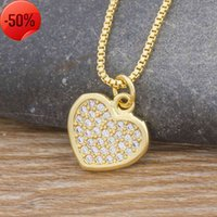 New Fashion Romantic Heart Necklace Gold Color Long Chain Copper Cubic Zircon Pendant Charm Party Wedding Gift Jewelry for Women