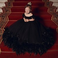 Black Ball Gown Feathers Flower Girl Dresses For Wedding Off The Shoulder Toddler Pageant Gowns Tulle Sweep Train First Communion Dress