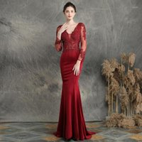 Mermaid Evening Dresses with Sexy V Neck Backless Long Sleeves Prom Party Gowns Lace Applique Tulle Satin Mother of the Bride1