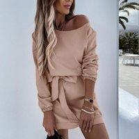 Casual Dresses Women Solid Dress Long Sleeve Belt Cold Shoulder Loose Mini 2021 Short Vestidos Female Cotton Robe